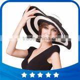 2016 new fashion summer large brim beach sun womens hats ladies black and white stripes floppy straw hat