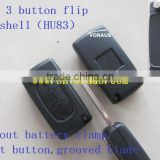 New key Peu 3 button flip key shell(HU83)without battery clamp, light button,grooved blade
