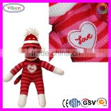 B790 Valentine's Day Sock Monkey Love Heart Awesome Pet Shop Style Maxx Sock Monkey