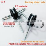 steel fence ,2 eyelets, gate handle insulator,chain link fence, wood thread .black platic,UV plastic high quality
