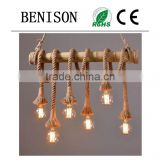 Injuicy Lighting Manila Rope Lights Vintage Edison 6 Light Rope Ceiling Light Chandelier Industrial Lamp
