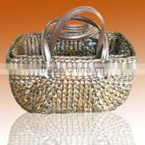 Water hyacinth basket, leather handle basket