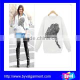2016 Latest Fashion Custom Design Woman White Printed O Neck Pullover Hoodies