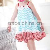 wholesale clothing Girls 2 pc Aqua Chevron Dress with matching Red Striped Bike Shorts Red straps toddler girls cotton halter