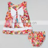Fashion Rainbow Floral Baby Girl Clothing Set With Bow 2pcs Swing Top And Diaper Cover Set Adorable Infant Clothes CS90425-15