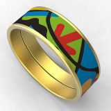 Tribal Gold Stainless Steel Enamel Cloisonne Cuff Bangle