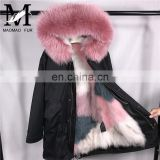 Factory Direct Selling Fox Fur Lining Hot Pink Fur Parka / Raccoon Fur Collar Black Cotton Parkas