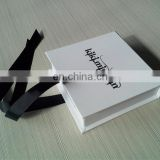 $500 Cash Coupon! White Printed Black Logo Packing Gift Box With Ribbon Packing Jewelry Wholesale