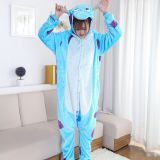 Blue Cow Cartoon Flannel Conjoined Polyester Pajamas