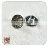 Custom embossed jeans rivets button,metal snap fastener buttons for leather