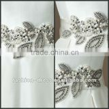 Silk Dupion bias self tie belt withflower and leaf motif in pearl and crystals wedding dress accessories