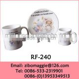 Round Shape Christmas Designed Promotional Porcelain Breakfast Dining Set