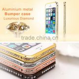 Bling Elegant Crystal Diamond aluminium metal Bumper case for iPhone6/Plus, iPhone5/5c/5s