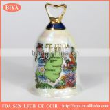 promotional ceramic desk bell dinner bell coated colorful pearl glazed for souvenir and decoration used or christmas custom