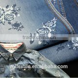 100% cotton printed denim fabric/rose flower fabric