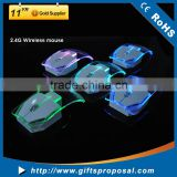 Wireless 2.4GHz Mouse Transparent with bright LED Mice for Notebook Desktop Computer