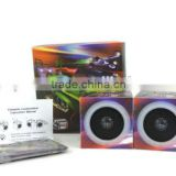 pair of paper cardboard speakers (portable & foldable) in cube shape with original box