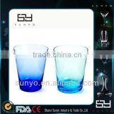 Glass Drinkware Type Green and Blue Colored Drinking Glass                                                                         Quality Choice