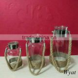 round glass candle jars with hanging rope                                                                         Quality Choice