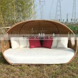 rattan round shape price of sofa cum bed/ daybed with canopy