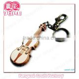 Custom Laser cut Wooden Instrument Violin Shaped keychain for promotion gift or tourist souvenir