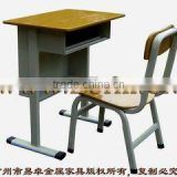 Wooden school furniture/Middle school desk and chair/ high quality classroom furniture/Metel single high school furniture