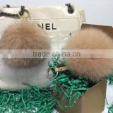 Beige Tan Fox Fur Pom Pom Ball Bobble Keychain Key Ring Bag Pendant with Strap and Metal Buckle-