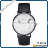 Fashion luxury charm white&black unisex wrist watch stainless steel Japan movement watch genuine leather stone dial watch