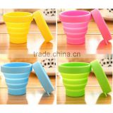 High Quality Silicone Cup Cover Convenient Tour Reusable Collapsible Cups for Water, Coffee
