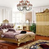 royal prince style luxury champagne gold hand carved wood bedroom set promoting at the end of year