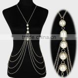 New new trendy handmade famous names of russian gold pearl jewelry new arrival women sexy body chain