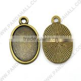 Antique Oval Blank Pendant Cabochon Settings, Jewelry Settings without Stones(TIBEP-K038-25mm-AB-NF)