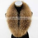 Raccoon dog fur natural color top quality real Raccoon Fur Collar for jacket                                                                                                         Supplier's Choice