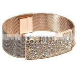 Charm Rose Gold Jewelry Stately Steel Crystal Mesh Bracelet Vners Manufacturer Importer Supply                                                                         Quality Choice