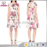 Wholesale summer dress for women Round neck short sleeves all-over floral print Citrus bloom mesh dress                                                                                                         Supplier's Choice