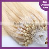 Top Quality Double Beads Brazilian Remy Human Hair Weave Blonde Micro Loop Ring Hair Extension