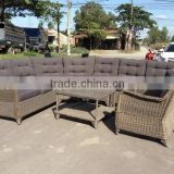 WICKER SOFA SET/ POLY RATTAN SOFA SET/ WICKER SOFA WITH 6pcs/ SOFA (6 pcs) (1 chair+1 corner+1 right bench 2 seater+1 left bench