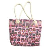 Hot Fashion Cute Owl Print Canvas Tote Female Casual Beach Bags Large Capacity Women Single Shopping Bag Canvas Handbags