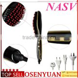 2016 fast shipping personal use digital hair straightener comb and electrichair styling brush ionic straighten hair brush