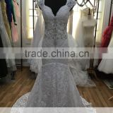AR-9 Latest Dress Designs Beaded Crystal V-Neck Backless Sleeveless Mermaid Lace Boho Beach Wedding Dress 2016