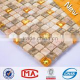 ZTCLJ JTC-1304 Grey and Golden Glass Mosaics Mix Beige Natural Stone Mosaic Tiles for Wall Decor