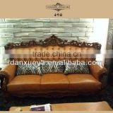 Classic high end Italian style living room furniture set luxury chesterfield brown leather sofa set DXY-861#
