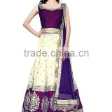 Sensational Purple & White Raw Silk Anarkali Suit/Buy Online Designer Anarkali Suits