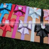 "Baby Elastic Headbands with 2.75""Embroideried Sequin Bows for Hair Accessoires IN STOCK"