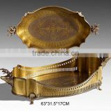 Unique Dragon Boat Design Solid Brass Oval Tray With Handles, Hand Engraved Bronze Severing Tray, Art Nouveau Tableware
