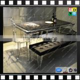 Acrylic long bench with leather cushion PMMA acrylic design sofa bench chair from china manufacturer