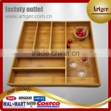 2017 Hot wholesale strong and durable and more function classic bamboo serving tray with removable drawer