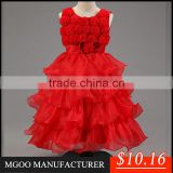 MGOO 2016 New Year Chirstmas Girl Dress New Style Ball Gown Flowers Girl Tulle Layers 4 Years Old Dress MGT028-2