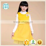 high quality yellow wool medium dress children autumn dress pure color wool one piece dress simple design girls frock