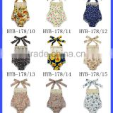 OEM Service Flower Printed Sleeveless Halter Fringe Toddler Baby Girl Floral Ruffle Romper Infant Newborn Clothes